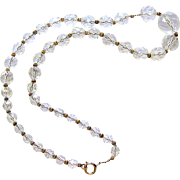 Faceted Beehive Cut Crystal Graduated Bead Necklace on 10kt Rose Gold Chain