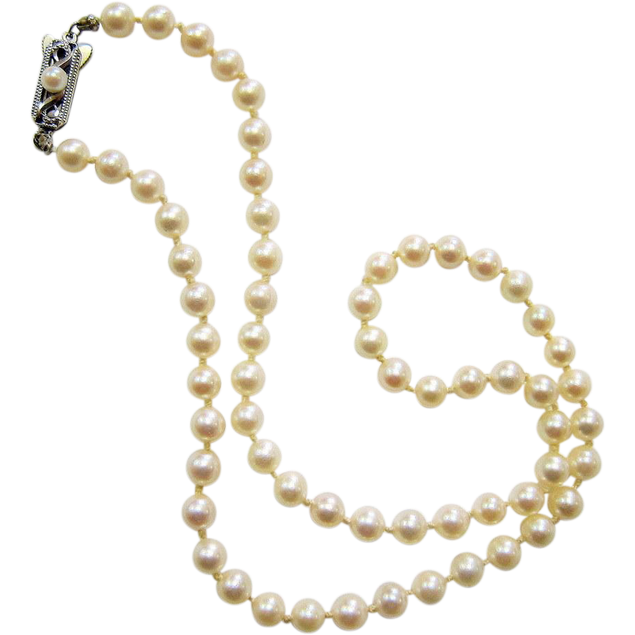 Pearl Necklace Clasps: Mikimoto Saltwater Akoya Pearl Necklace With Sterling