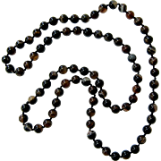 Banded Agate knotted Necklace 30 inches