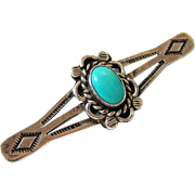 Native American Sleeping Beauty Cabochon Turquoise Sterling Brooch