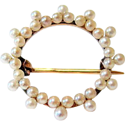 Victorian 14KT Rosy Gold and Seed Pearl Brooch Hallmarked and Signed