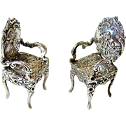 Antique 800 Coin Silver Miniature Dollhouse Armchairs