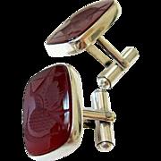 Mid Century Sterling Silver Carnelian Intaglio Cufflinks