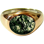 Antique Edwardian 10kt Rosy Gold Moss Agate Ring Allsopp Brothers