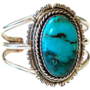 Native American Navajo Turquoise Sterling Silver Cuff