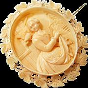 Antique Victorian Celluloid Brooch Romantic Period