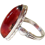 Clark and Coombs Art Deco Sterling Carnelian Agate Ring