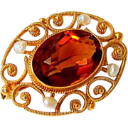 Antique 14KT Yellow Gold Citrine and Seed Pearl Brooch