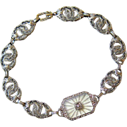 Art Deco 10KT White Gold Camphor Diamond Bracelet
