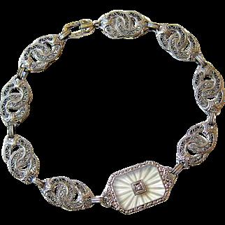 Art Deco 10KT White Gold Camphor Diamond Bracelet