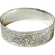 Italian Coin Silver Etched Bangle Bracelet