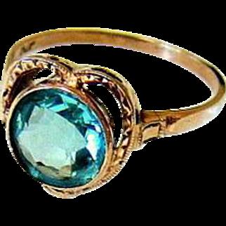 Antique 10KT Rosy Gold Etched Aqua Paste Heart Ring