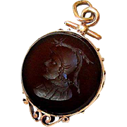 Antique Victorian 10KT Rose Gold Carved Hardstone Fob Pendant