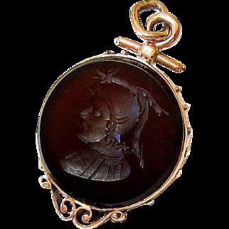 Antique Victorian 10KT Rose Gold Carved Hardstone Fob Pendant