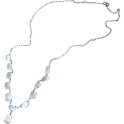 Antique Edwardian Sterling Silver Moonstone Drop Necklace