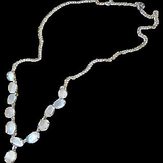Antique Edwardian Sterling Silver Moonstone Drop Necklace