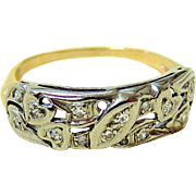 Edwardian 14KT Yellow and White Gold Diamond Wedding Band