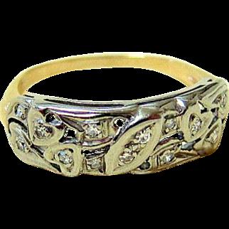 Edwardian 14KT Yellow and White Gold Diamond Wedding Band