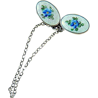 Webster Sterling Hand Painted Guilloche Sweater Clips