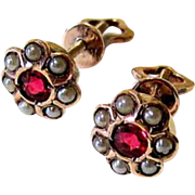 Antique Ruby Paste Seed Pearl 10KT Rose Gold Stud Earrings