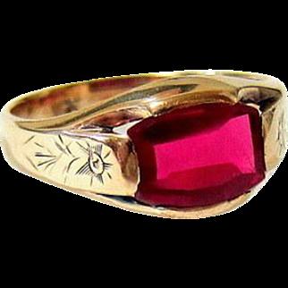 Edwardian Etched 10KT Rose Gold Man-made Ruby Ring