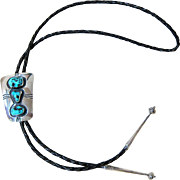 Navajo Handcrafted Kingman Turquoise Sterling Bolo Tie
