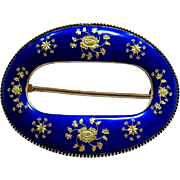 Antique French Blue and Gold Guilloche Enamel Sterling Brooch