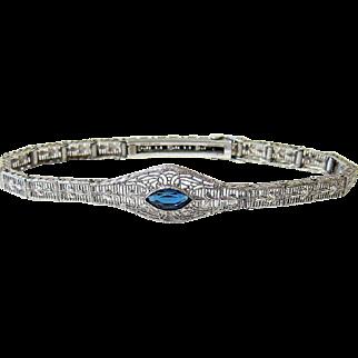 Art Deco Esemco Sterling Filigree Etched Sapphire Paste Bracelet