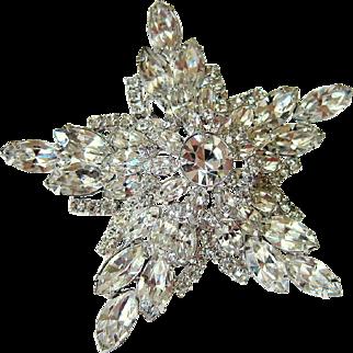 Vintage Kramer of New York Austrian Crystal Star Snowflake Brooch
