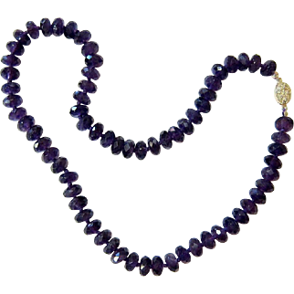 Faceted Amethyst Quartz Knotted Necklace with Sterling Clasp