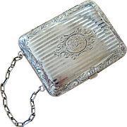 Victorian Hand Etched Sterling Silver and Leather Change Purse