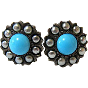 Antique Persian Turquoise and Seed Pearl 10KT Rose Gold and Sterling Stud Earrings