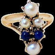 Antique Edwardian 14KT Yellow gold Pearl Lapis Ring