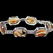 Vintage Cabochon Agate Sterling Silver Bracelet