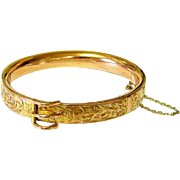 Antique Rosy Rolled Gold Etched Buckle Bangle