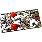 Arts and Crafts Jugendstil 900 Silver Salmon Coral Brooch - Signed
