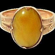 Antique 10KT Etched Rose Gold Agate Ring