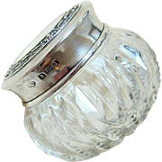 Antique Edwardian Zipper Cut Crystal and Sterling Silver Powder Dresser Jar