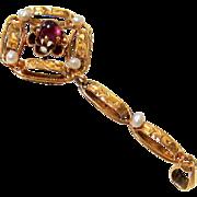 Edwardian Rhodolite Garnet Seed Pearl 10KT Gold Pendant