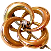 Victorian 10KT Rose gold Diamond Lovers Knot Brooch