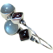 Mid Century Moonstone Garnet Sterling Earrings