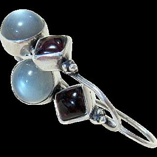 Mid Century Moonstone Garnet Sterling Earrings