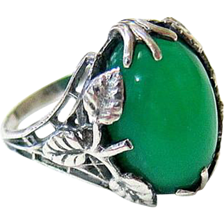 Arts and Crafts Chrysoprase Sterling Ring