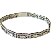 Art Deco Faceted Oval Crystal Rhinestone Sterling Bracelet - Signed