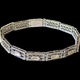 Art Deco Faceted Oval Crystal Rhinestone Sterling Bracelet - Signed