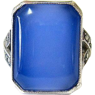 Art Deco Sterling Silver Emerald Cut Chalcedony Marcasite Ring - Hallmarked