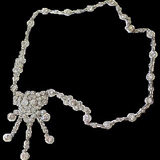 Art Deco Sterling Crystal Drop Necklace