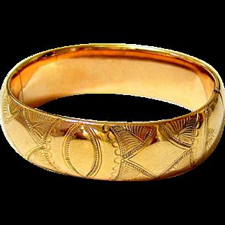 Antique Edwardian 10KT Rolled Gold Etched Bangle Bracelet - Signed
