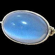 Edwardian Faux Cat's Eye Moonstone Sterling Silver Brooch - Signed