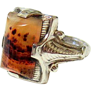 Art Deco Hand cut Moss Agate Sterling Silver Ring - Hallmarked and Signed
